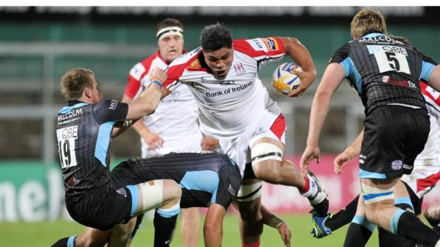 Glasgow's Chris Fusaro tackles Ulster number eight Nick Williams during the Pro12 game at Ravenhill