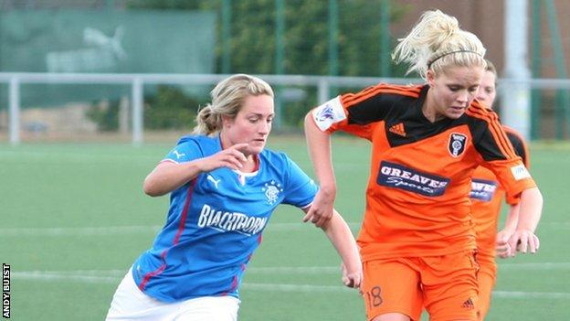 Glasgow City's Denise O'Sullivan holds off Rangers player Hayley Cunningham