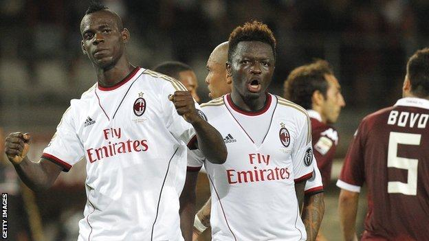 Mario Balotelli (left) celebrates after scoring against Torino