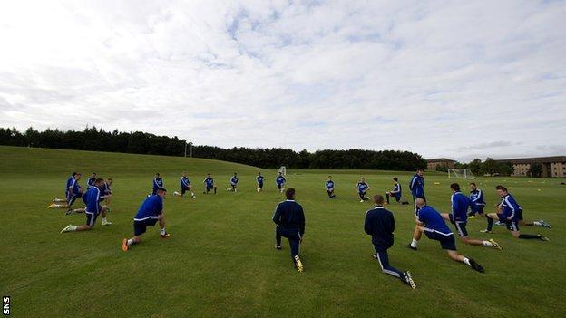 Hearts players training at Riccarton