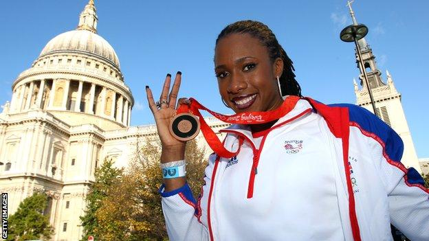 Tasha Danvers celebrates winning bronze