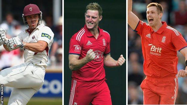 Nick Compton, Ben Stokes and Boyd Rankin