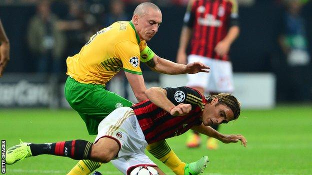 Scott Brown tussles with Alessandro Matri