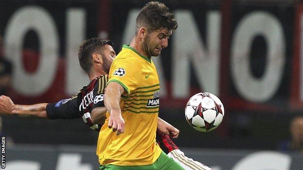 Charlie Mulgrew in action against AC Milan