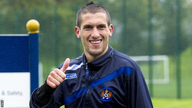 Ismael Bouzid gives the thumbs up signal after Kilmarnock training