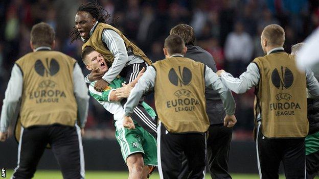 Roman Bezjak celebrates Ludogorets' first goal