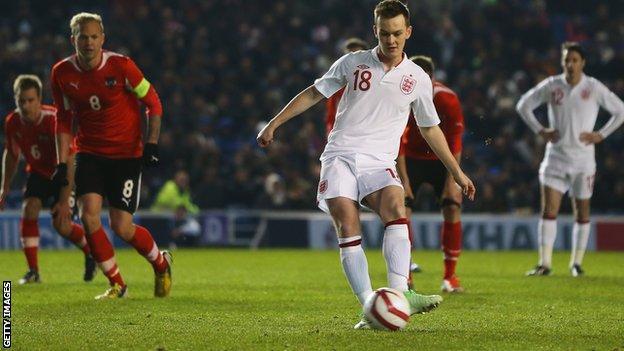 Josh McEachran strikes a penalty for England U21s