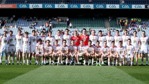 Tyrone's players pose for the pre-match team photograph before facing Mayo in the final of the 2013 All-Ireland Minor Football Championship at Croke Park