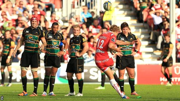 Billy Twelvetrees lands the match-winning penalty for Gloucester against Northampton