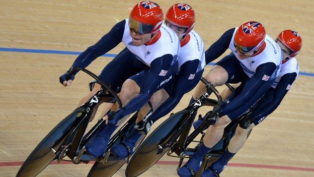 GB tandem pairs Craig Maclean and Anthony Kappes and Barney Storey and Neil Fachie
