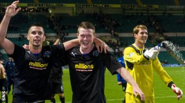 Morton players celebrate their Cup victory at Celtic Park