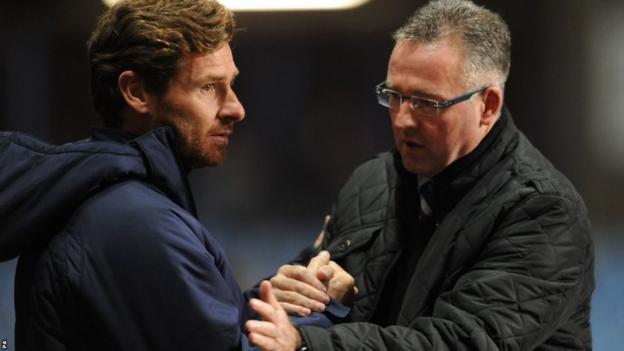 Tottenham manager Andre-Villas Boas and Aston Villa boss Paul Lambert