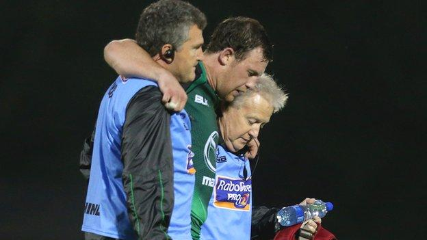 Willie Faloon is helped off the pitch on Saturday