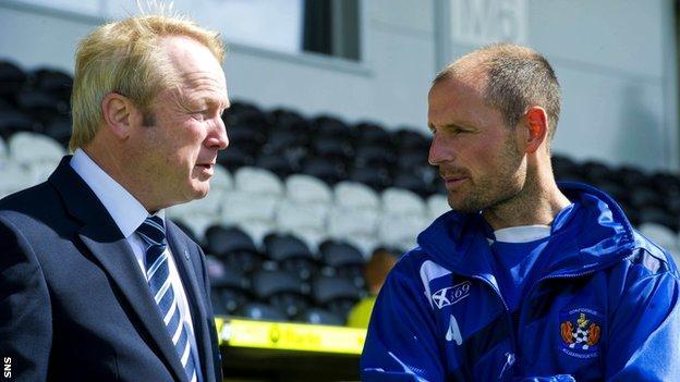 Kilmarnock chairman Michael Johnston (left) in conversation with manager Allan Johnston