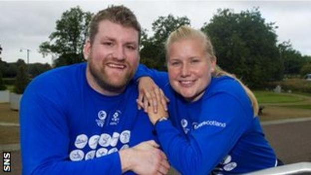 Hammer-throwers Andrew Frost and Susan McKelvie