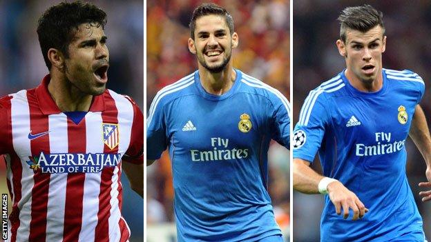 (left to right) Diego Costa, Isco and Gareth Bale