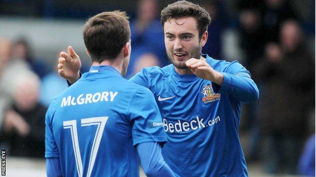 Andy McGrory and Mark Patton have helped Glenavon to top spot in the Irish Premiership