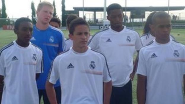 Abuchi Obinwa (second right) at Real Madrid's training academy