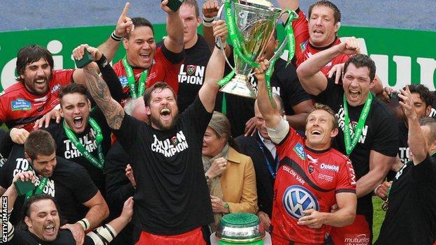 Toulon celebrate winning the Heineken Cup