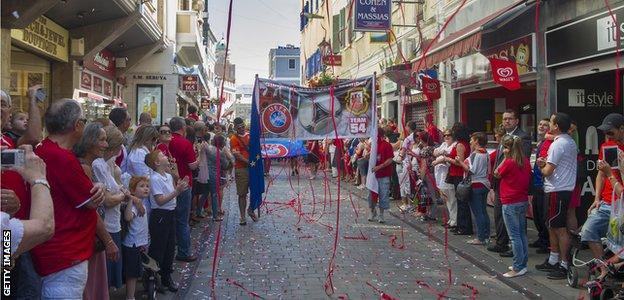 Gibraltar fans line street
