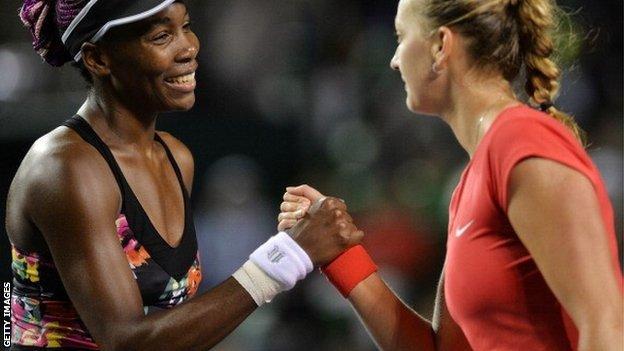 Venus Williams (left) and Petra Kvitova