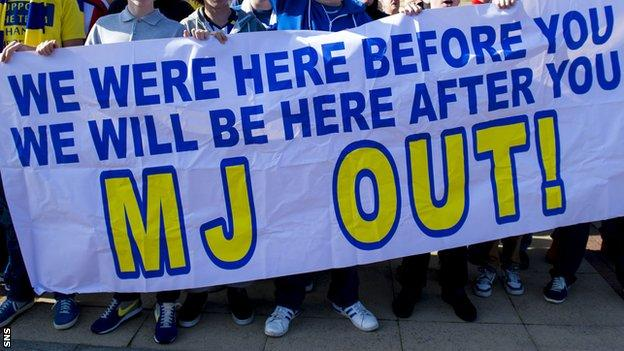 Kilmarnock fans protesting outside rugby Park