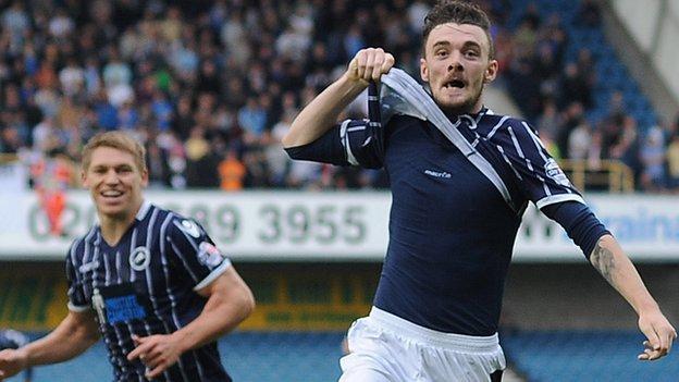 Scott Malone celebrates scoring Millwall's second goal