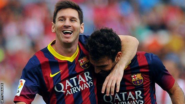 Lionel Messi celebrates scoring at the weekend