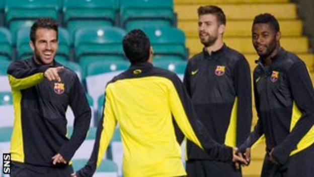 Cesc Fabregas and Barcelona team-mates