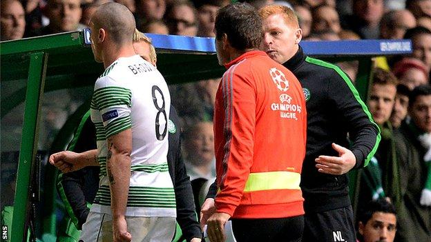 Celtic manager Neil Lennon questions why his captain Scott Brown was sent off