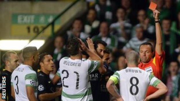Celtic captain Scott Brown receives his marching orders
