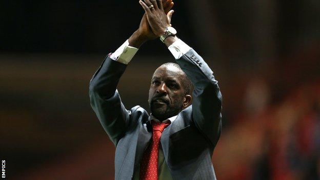 Chris Powell applauds supporters after their 1-1 draw at home to Nottingham Forest