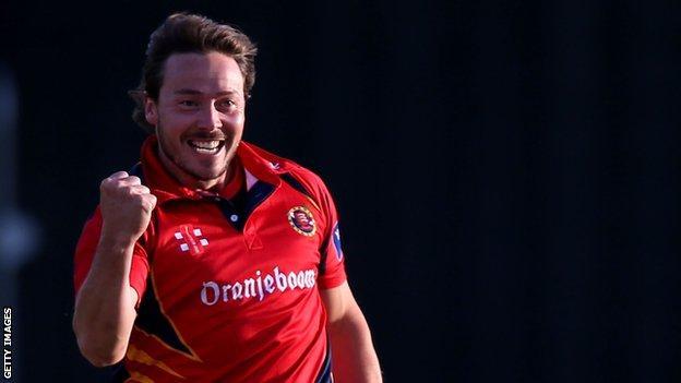 Graham Napier celebrates a wicket for Essex