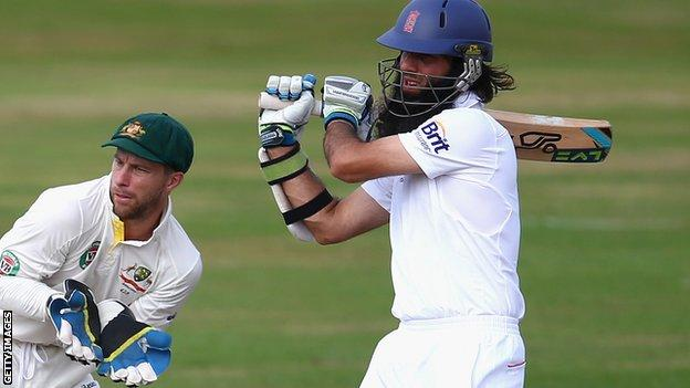 Moeen Ali batting for England Lions against Australia