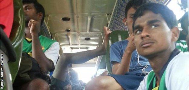 Salgaocar team on a crowded bus