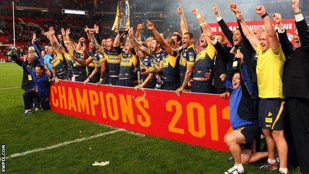 Leeds Rhinos celebrate their 2012 Grand Final win at Old Trafford