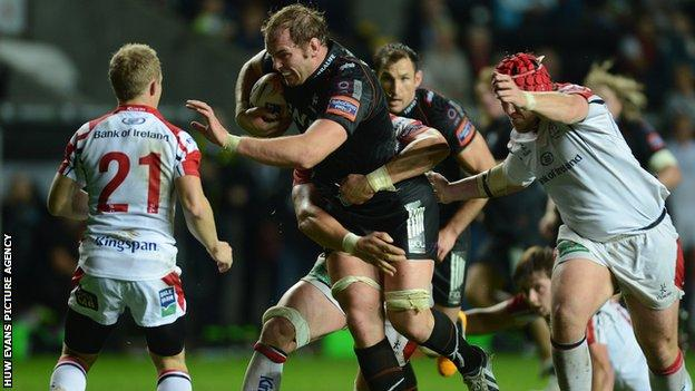 Alun Wyn Jones leads the charge for Ospreys