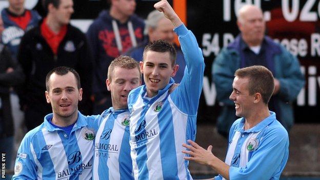 Daniel Hughes celebrates after putting Warrenpoint ahead