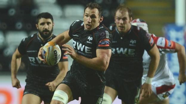 Ospreys back rower Joe Bearman leads a charge against Ulster at the Liberty Stadium, but it was the visitors who came out on top 18-12