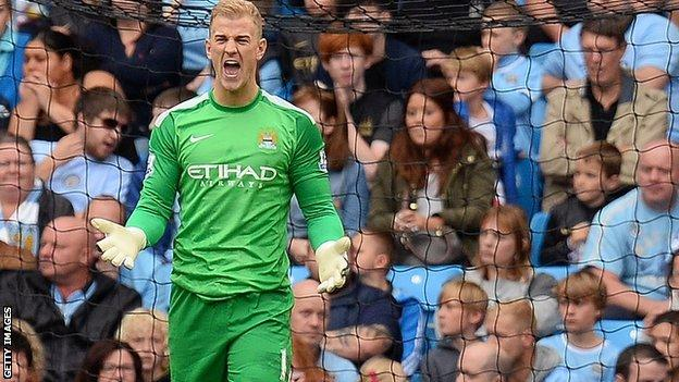 Manchester City's Joe Hart reacts angrily to Everton's goal