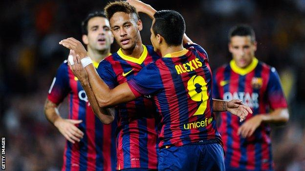Alexis Sanchez (front|) celebrates a Barcelona goal with Neymar