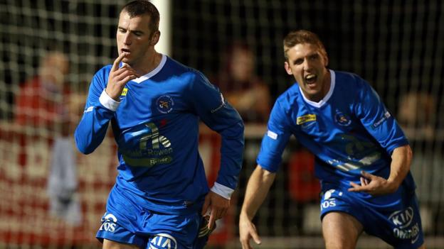Ryan Campbell runs away after scoring Ballinamallard's goal in their 1-0 Premiership win over Ballymena at Ferney Park
