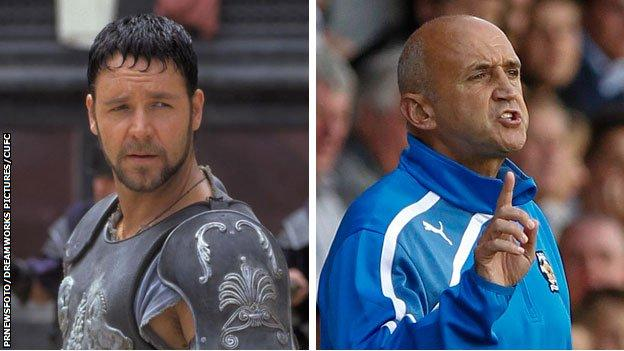 Russell Crowe as Maximus in Gladiator and Richard Money as Cambridge United boss