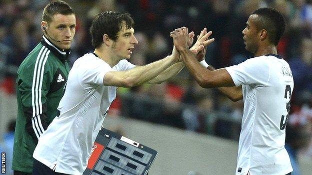 Ashley Cole is substituted for Leighton Baines during England's friendly against Ireland in May