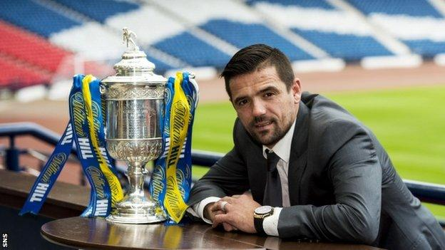 Nacho Novo with the Scottish Cup