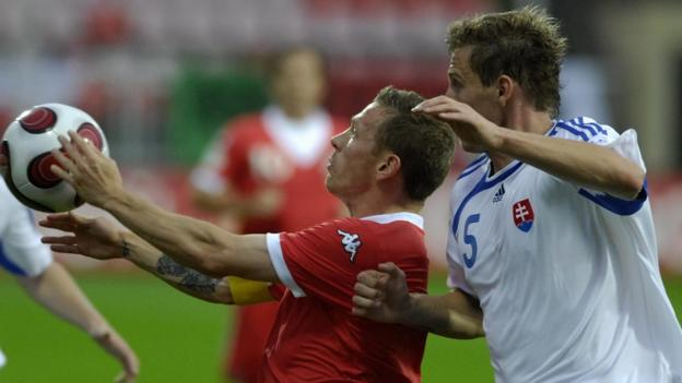 One of Bellamy's most memorable international performances comes in a 5-2 win in Slovakia, where he scores twice in a Euro 2008 qualifier in September 2007