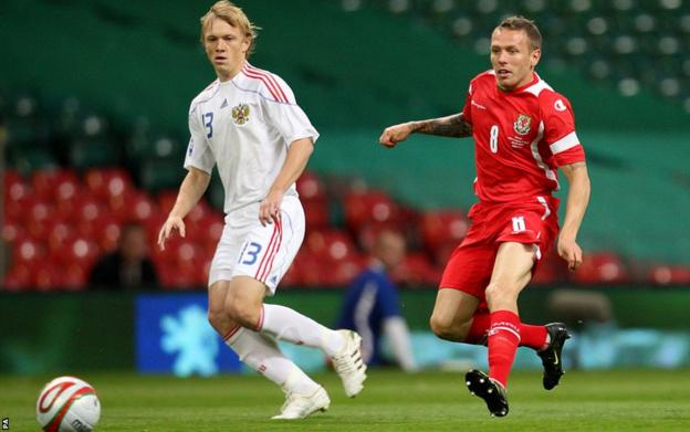 Bellamy has an attempt on goal during a home World Cup qualifier against Russia in 2009