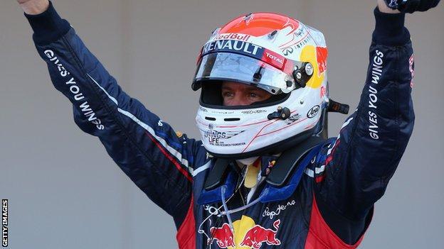 Vettel celebrates winning at Suzuka in 2012