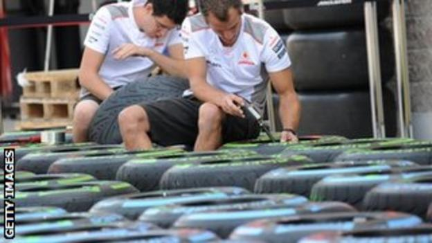 McLaren inspecting tyres at the Korea GP