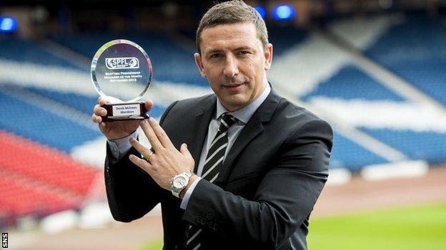 Aberdeen manager Derek McInnes shows off his monthly prize